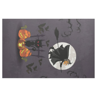 Witch on broomstick, black cat, pumpkins Halloween Fabric