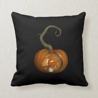 Witch on Broomstick Carved Pumpkin Throw Pillow