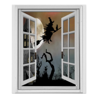 Witch On Broomstick Window View Halloween Poster