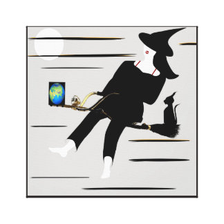 Witch on luxuriously brush canvas print