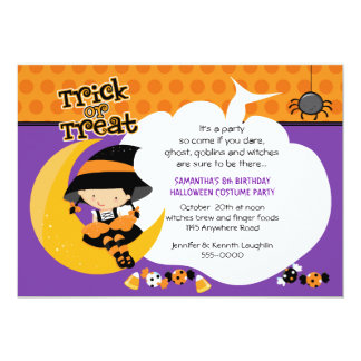 Witch on the Moon Halloween Birthday 13 Cm X 18 Cm Invitation Card