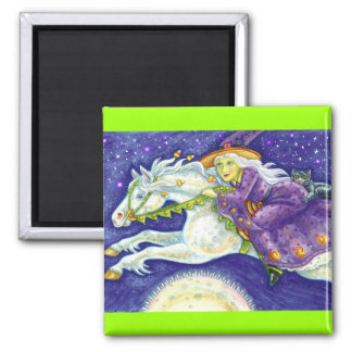 Witch on White Horse Magnet