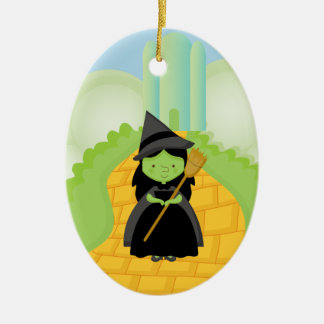 Witch on Yellow Brick Road Christmas Ornament
