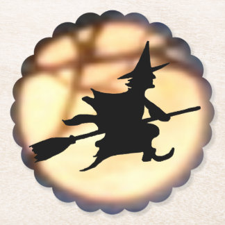 Witch Over Moon Halloween Coasters