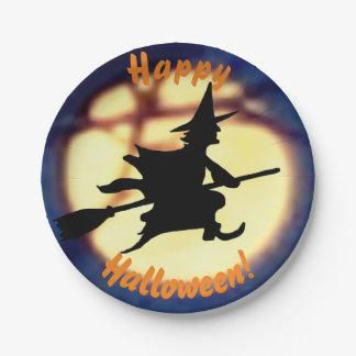 Witch Over Moon Halloween Paper Plates