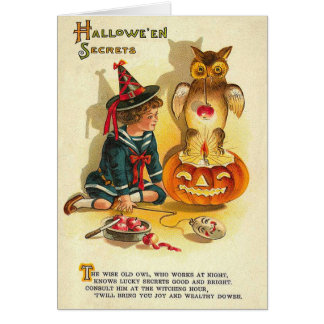Witch Owl Jack O Lantern Pumpkin Card
