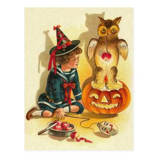 Witch Owl Jack O Lantern Pumpkin Postcard