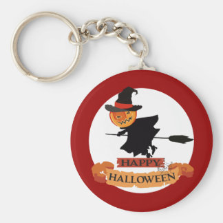 Witch pumpkin head flying broom Halloween Key Chains