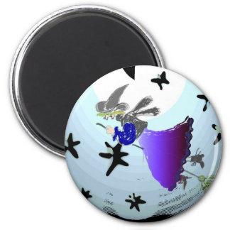 Witch ride 6 cm round magnet