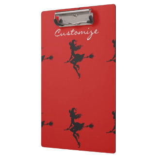 Witch Riding Broom Halloween Thunder_Cove Clipboard