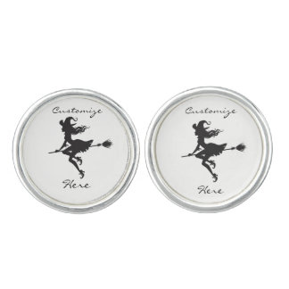 Witch Riding Broom Halloween Thunder_Cove Cuff Links