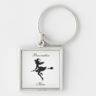 Witch Riding Broom Halloween Thunder_Cove Key Ring