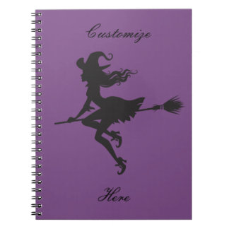 Witch Riding Broom Halloween Thunder_Cove Notebook