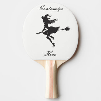 Witch Riding Broom Halloween Thunder_Cove Ping Pong Paddle