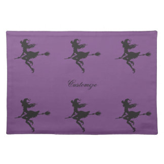 Witch Riding Broom Halloween Thunder_Cove Placemat
