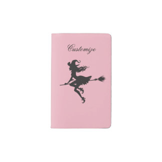 Witch Riding Broom Halloween Thunder_Cove Pocket Moleskine Notebook