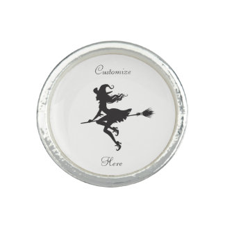 Witch Riding Broom Halloween Thunder_Cove Ring