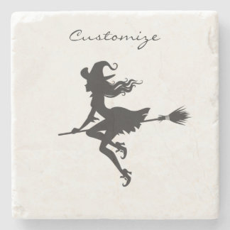 Witch Riding Broom Halloween Thunder_Cove Stone Coaster