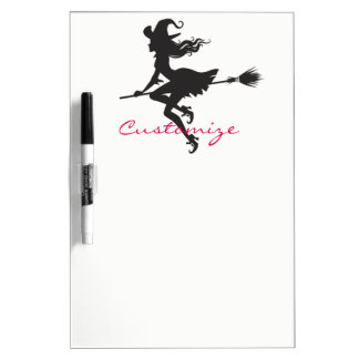 Witch Riding Broom Thunder_Cove Halloween Dry Erase Board