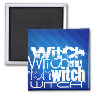 Witch; Royal Blue Stripes Magnets