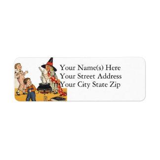 Witch Scares Children Vintage Halloween Return Address Label