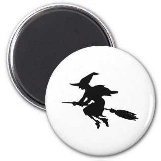 Witch Silhouette 6 Cm Round Magnet