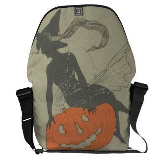 Witch Silhouette Jack O Lantern Pumpkin Courier Bag