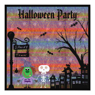 Witch & Skeleton Spooky Town Halloween Party 13 Cm X 13 Cm Square Invitation Card