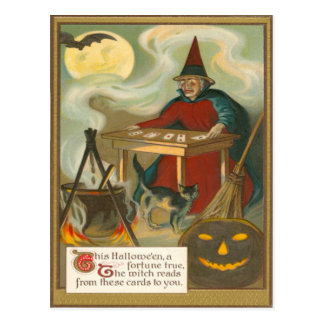 Witch Tarot Bat Full Moon Black Cat Postcard