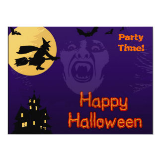 Witch, Vampire and Haunted House 17 Cm X 22 Cm Invitation Card