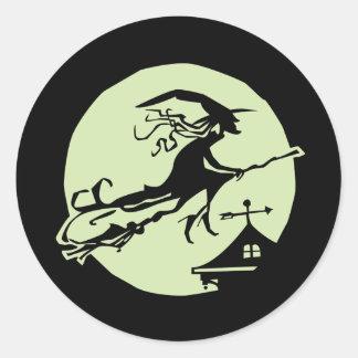 Witch Vane Moon Round Sticker