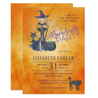 Witch watercolor Halloween bachelorette party Card