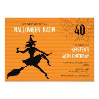 Witch & Web Halloween Birthday Party Invitation