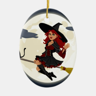 witch witchcraft broomstick broom ceramic ornament