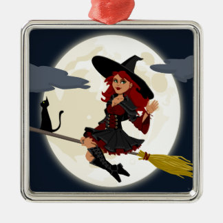 witch witchcraft broomstick broom metal ornament