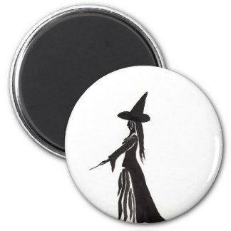 Witch With a Magic Wand 6 Cm Round Magnet