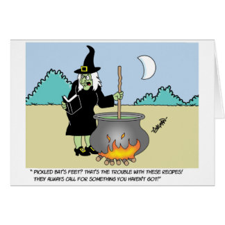 Witch With A Recipe Book Greeting Card