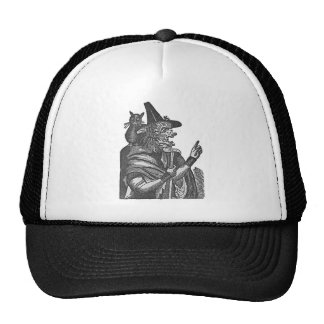 Witch with Black Cat Lithograph Mesh Hat