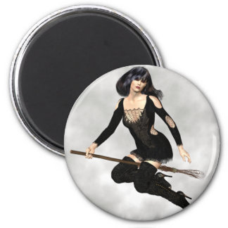 Witch with Broom  Magnet Refrigerator Magnet