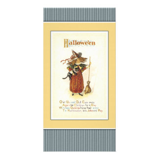 Witch with cat and broom customised photo card