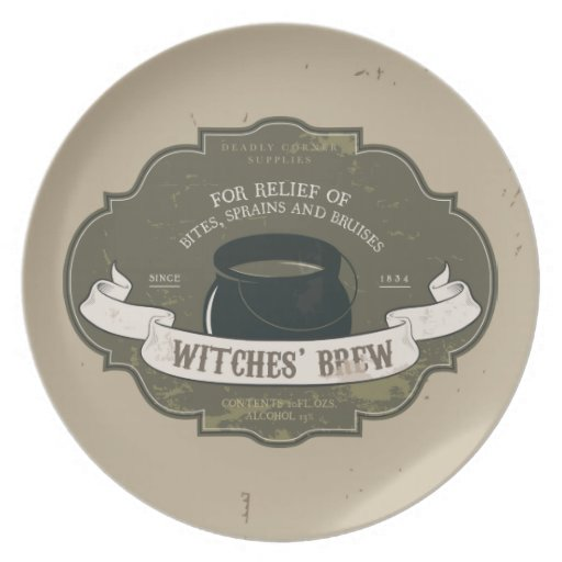 Witches Brew Vintage Label Halloween Plate