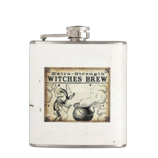 Witches Brew Vintage Style Drink Label Hip Flask