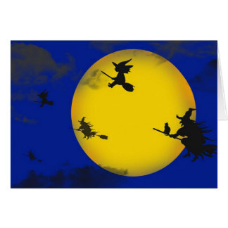Witches Flying Halloween Card
