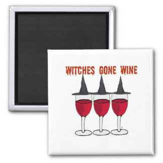 WITCHES GONE WINE RED GLASSES PRINT MAGNETS