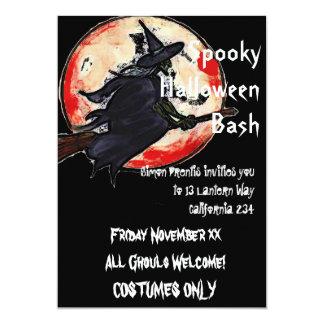 Witches Halloween party 13 Cm X 18 Cm Invitation Card