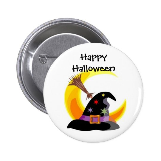 Witches Hat Happy Halloween Pin - Customised