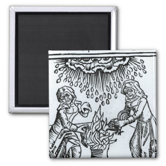 Witches Making a Spell, 1489 Square Magnet
