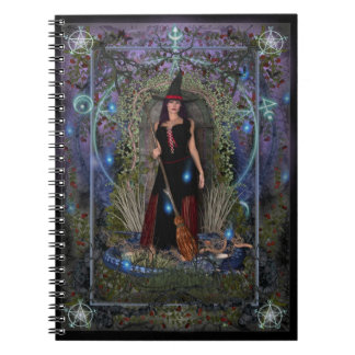 Witches Spellbook - Blue Moon Witch & Dragon Spiral Note Book