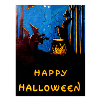 Witching Hour Black Cat Bat Cauldron Postcard