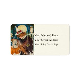 Witch's Brew in Pumpkin Vintage Address Label